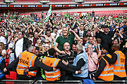 Forest Green Rovers supporters at the final whistle during the Vanarama National League Play Off Final match between Tranmere Rovers and Forest Green Rovers at Wembley Stadium, London, England on 14 May 2017. Photo by Shane Healey.
