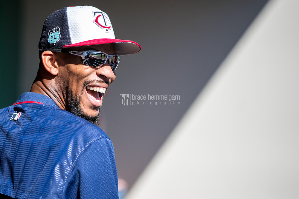 FORT MYERS, FL- FEBRUARY 26: Byron Buxton #25 of the Minnesota Twins looks on against the Washington Nationals on February 26, 2017 at Hammond Stadium in Fort Myers, Florida. (Photo by Brace Hemmelgarn) *** Local Caption *** Byron Buxton