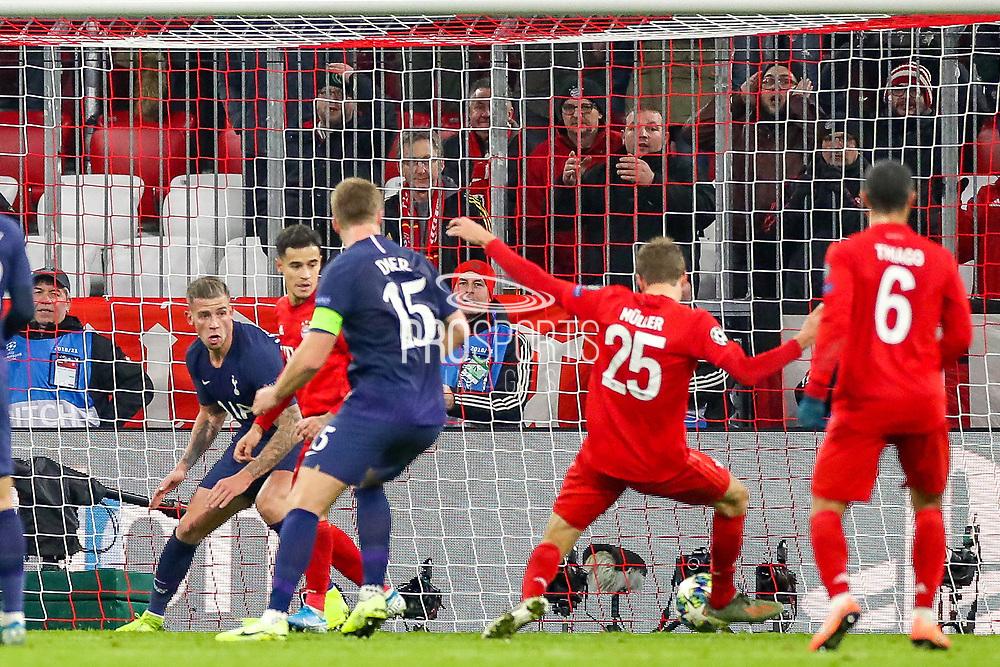 Goal Bayern Munich forward Thomas Müller (25) scores a goal 2-1 during the Champions League match between Bayern Munich and Tottenham Hotspur at Allianz Arena, Munich, Germany on 11 December 2019.