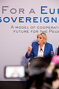 "Marie Le Pen speaking during the press conference of the European anti-migrant parties ""Europe of Nations and Freedom"" (ENF) in Prague. Attending were Marie Le Pen from France, Geert Wilders from Holland and Tomio Okamura of the Freedom and Direct Democracy (SPD) movement from Czech Republic which was hosting the meeting. Prague, 16.12.2017"