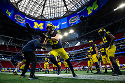 Michigan Wolverines practice on Wednesday, December 26, 2018 at the Mercedes Benz Stadium in Atlanta. Michigan will face Florida in the 2018 Peach Bowl on December 29, 2018. (Jason Parkhurst via Abell Images for the Chick-fil-A Peach Bowl)