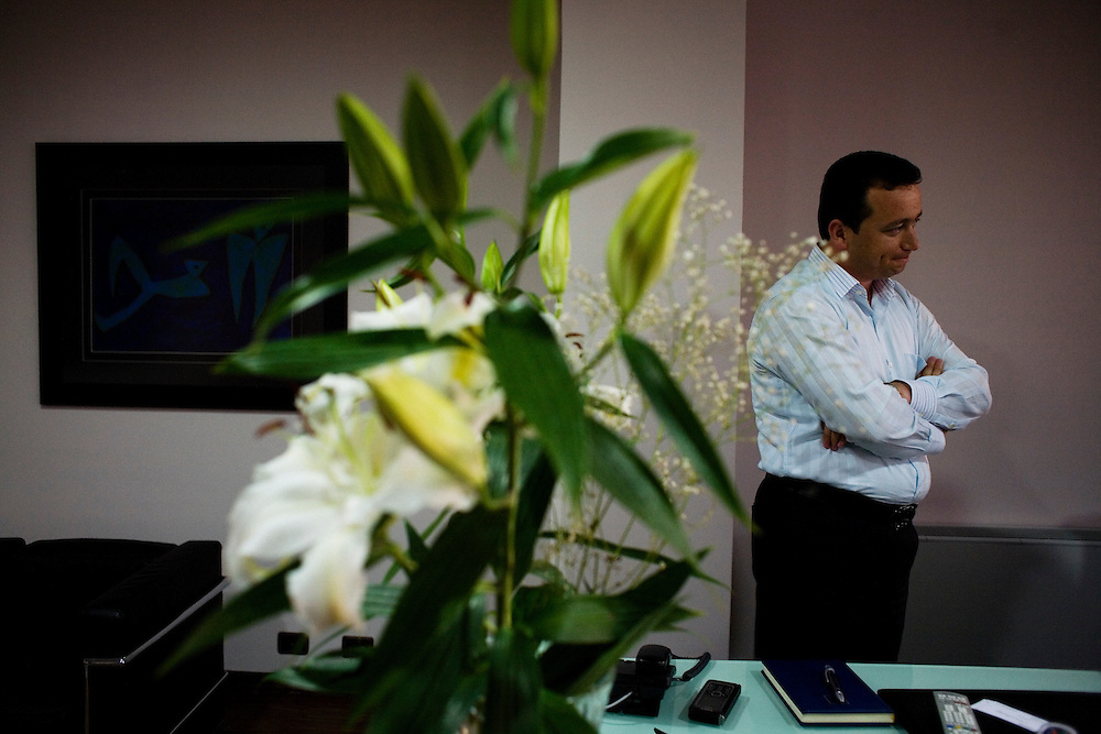 Albanian entrepreneur and business owner Bashkim Shalla in his Tirana office...Tirana, Albania. June 5, 2009.