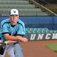UNCW's baseball player Jordan Ramsey stands for a photograph at Brooks Field in Wilmington, NC, Monday, May 11, 2015. Staff Photo by Mike Spencer