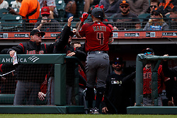 SAN FRANCISCO, CA - MAY 26: Ketel Marte #4 of the Arizona Diamondbacks is congratulated by teammates after hitting a home run against the San Francisco Giants during the first inning at Oracle Park on May 26, 2019 in San Francisco, California.  (Photo by Jason O. Watson/Getty Images) *** Local Caption *** Ketel Marte