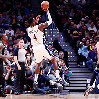 01 April 2018: Denver Nuggets forward Paul Millsap (4) takes a jump shot during the Denver Nuggets 128-125 victory over the Milwaukee Bucks, at the Pepsi Center, Denver, Colorado, USA.