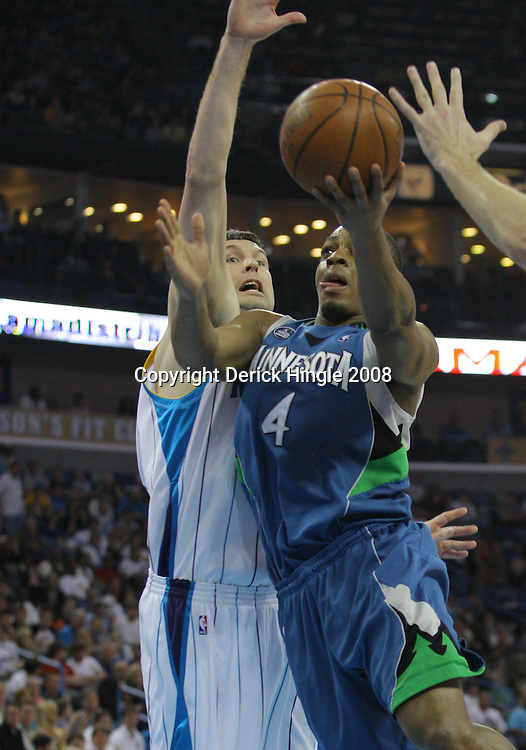 08 February 2009: Minnesota Timberwolves guard Randy Foye (4) drives past New Orleans Hornets forward Sean Marks (4) during a 101-97 win by the New Orleans Hornets over the Minnesota Timberwolves at the New Orleans Arena in New Orleans, LA.