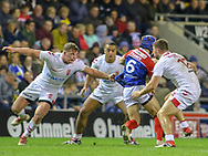 Adam Milner (left) Reece Lyne (centre) and Elliott Whitehead (right) of England and Theo Fages of France during the International Friendly match at Leigh Sports Village, Leigh<br /> Picture by Steve McCormick/Focus Images Ltd 07545 862647<br /> 17/10/2018