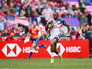 USA player Perry Baker scores a try in the game USA vs Wales during the Cathay Pacific/HSBC Hong Kong Sevens festival at the Hong Kong Stadium, So Kon Po, Hong Kong. on 7/04/2018. Picture by Ian  Muir.