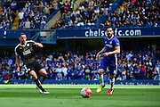 Leicester City Defender Christian Fuchs (28) clears the ball during the Barclays Premier League match between Chelsea and Leicester City at Stamford Bridge, London, England on 15 May 2016. Photo by Jon Bromley.