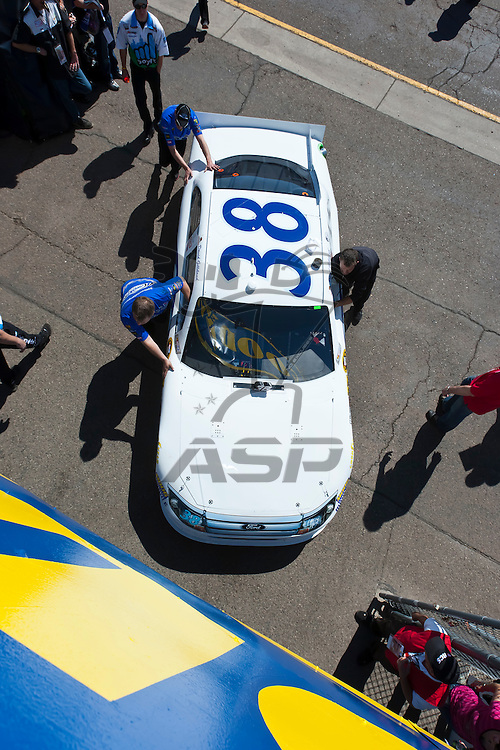 AVONDALE, AZ - MAR 03, 2012:  The NASCAR Sprint Cup Series teams bring their cars out to qualify for the Subway Fresh Fit 500 at the Phoenix International Raceway in Avondale, AZ.