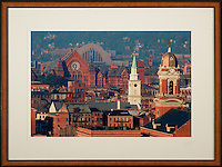 Framed photograph of Over the Rhine with Music Hall, Union Terminal, St. Paul's, and Old St. Mary's. Framed sizes vary, select at purchase screen.