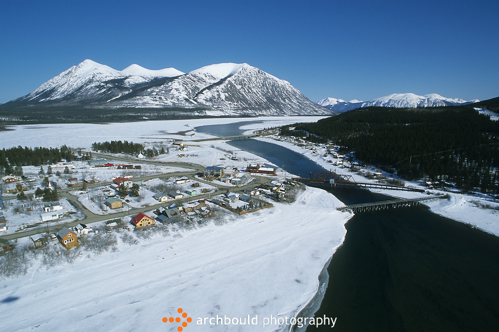 Aerial photo of Carcross, Yukon in winter