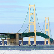 Mackinac Bridge Highlighted By Bright Blue Skies