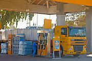 Israel, a truck at a pump at a PAZ petrol station