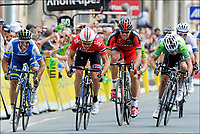 Sykkel<br /> 04.06.2013<br /> Foto: PhotoNews/Digitalsport<br /> NORWAY ONLY<br /> <br /> TARARE, FRANCE - JUNE 4:  Edvald Boasson Hagen (Norway / Team Sky) wins the sprint before Michael Matthews (Australia / Orica Greenedge Cycling Team) and Gianni Meersman (Belgium / Team Omega Pharma - Quickstep) during stage 3 of the 2013 Criterium du Dauphine from Amberieux en Bugey to Tarare on june 4, 2013 in Tarare, France.<br /> Thor Hushovd