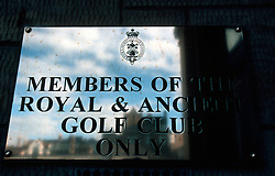UK SCOTLAND ST ANDREWS 1-2JUN04 -  Polished sign demarking parking space reserved for members of the R & A Golf Club. The Royal and Ancient Golf Club of St. Andrews, Fife, Scotland is celebrating its 250th anniversary this year and is the governing authority for the rules of the game in more than 100 affiliated nations and is responsible for the Open Championship and key amateur and international events. The R & A is also dedicated to the development of golf world-wide and is a leader in environmental and ecological research.......jre/Photo by Jiri Rezac....© Jiri Rezac 2004....Contact: +44 (0) 7050 110 417..Mobile:  +44 (0) 7801 337 683..Office:  +44 (0) 20 8968 9635....Email:   jiri@jirirezac.com..Web:     www.jirirezac.com....© All images Jiri Rezac 2004 - All rights reserved...