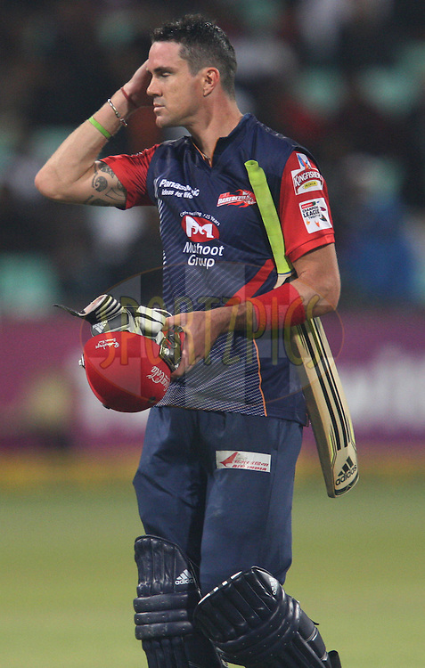 Kevin Pietersen during the first semi final of the Karbonn Smart CLT20 South Africa between The Delhi Daredevils and The Highveld Lions held at Kingsmead Stadium in Durban, Kwazulu Natal on the 25th October 2012..Photo by Steve Haag/SPORTZPICS/CLT20.