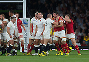 """Twickenham, Great Britain,    """"A Little bit of handbags as Mike BROWN, no doubt, told Sam BURTON , his fortune,  during the Pool A Game, England vs Wales.  2015 Rugby World Cup, Venue, The RFU Stadium, Twickenham, Surrey, ENGLAND. Saturday   26/09/2015  [Mandatory Credit; Peter Spurrier/Intersport-images]"""