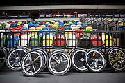 UNITED KINGDOM, London: 2015 World Wheelchair Rugby Challenge. Caption: Spare wheels (which are needed throughout the game) sit against the fence. Rick Findler / Story Picture Agency