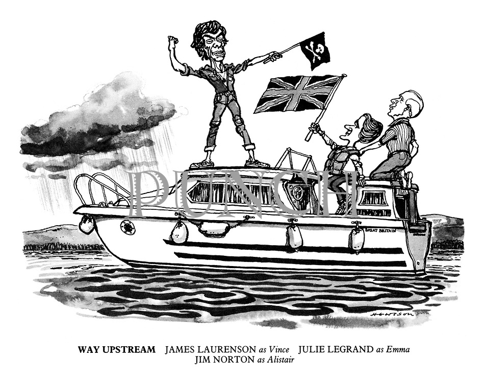 Way Upstream. James Laurenson as Vince, Julie Legrand as Emma, Jim Norton as Alistair