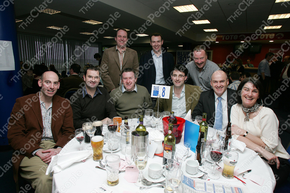 The Blue Box Charity lunch at Limerick Racecourse on Friday 16th March 2007 was a great success with an incredible atmosphere. Pictured are Paul Kerr (Bank of Scotland), Brian Lally (Keogh Sumers), Robert Ryan (Ryan Insurances), Peter Keogh (Blue Box), John Battles (FB Keating &amp; Co.), Geraldine Pierce (Keogh Sumers) &amp; behind Tom O'Calahan, Pat Molloy (Molloy QS) &amp; Larry Kiernan (Dell).<br />