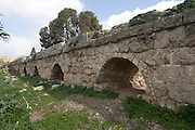 Israel, coastal plains, Near Binyamina, Remains of the Roman Aqueduct that carried fresh water from the Carmel Mountain to the city of Caesarea Maritima