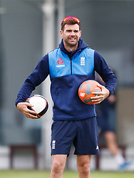 England's Jimmy Anderson during the nets session at Lord's, London.