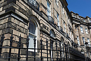 Railing ironwork and housing architecture on Moray Place, in Edinburgh, on 26th June 2019, in Edinburgh, Scotland.