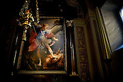 The painting of Guido Reni titled 'San Michele Archangelo', representing the Archangel winning over the Devil, is exposed in The Church of Immacolata Concezione (Church of Cappuccini), in Rome, Italy, where Father Carmine de Filippis, 55, an exorcist since 1983 normally resides.<br /> <br /> FOR MORE INFORMATION PLEASE WRITE TO ALEX@ALEXMASI.CO.UK<br /> <br /> **TEXT AND LENGHTY INTERVIEWS AVAILABLE**