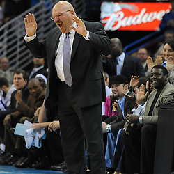 Jan 18, 2010; New Orleans, LA, USA; New Orleans Hornets head head coach Jeff Bower reacts to an officials call during the second half against the San Antonio Spurs at the New Orleans Arena. The Spurs defeated the Hornets 97-90. Mandatory Credit: Derick E. Hingle-US PRESSWIRE