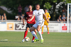 14.07.2015, Zeppelinstadion, Friedrichshafen, GER, Testspiel, FC St. Pauli vs SC Freiburg, im Bild Nicolas Hoefler ( SC Freiburg ) rechts John Verhoek ( FC St.Pauli ) // during a preperation Football Match between FC St. Pauli vs SC Freiburg at the Zeppelinstadion in Friedrichshafen, Germany on 2015/07/14. EXPA Pictures © 2015, PhotoCredit: EXPA/ Eibner-Pressefoto/ Langer<br /> <br /> *****ATTENTION - OUT of GER*****