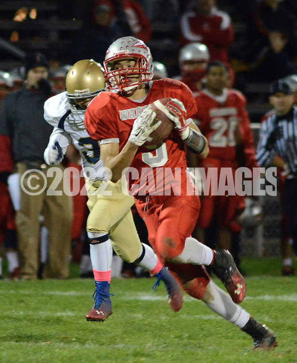 BRISTOL, PA - NOVEMBER 7: Bristol's Kyle Slivka-fralin #5 runs with the football on his way to scoring a touchdown in the first quarter of the District One Class AA football playoff game at Bristol High School November 7, 2014 in Bristol, Pennsylvania.  (Photo by William Thomas Cain/Cain Images)