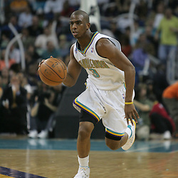 Chris Paul of the New Orleans Hornets on February 22, 2008 at the New Orleans Arena in New Orleans, Louisiana.