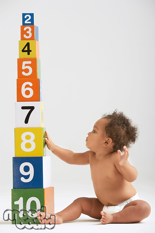 Baby Sitting by Tower of Number Blocks