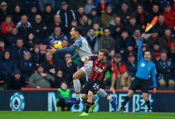 BOURNEMOUTH, ENGLAND - Saturday, December 8, 2018: Liverpool's Virgil van Dijk and AFC Bournemouth's Ryan Fraser during the FA Premier League match between AFC Bournemouth and Liverpool FC at the Vitality Stadium. (Pic by David Rawcliffe/Propaganda)