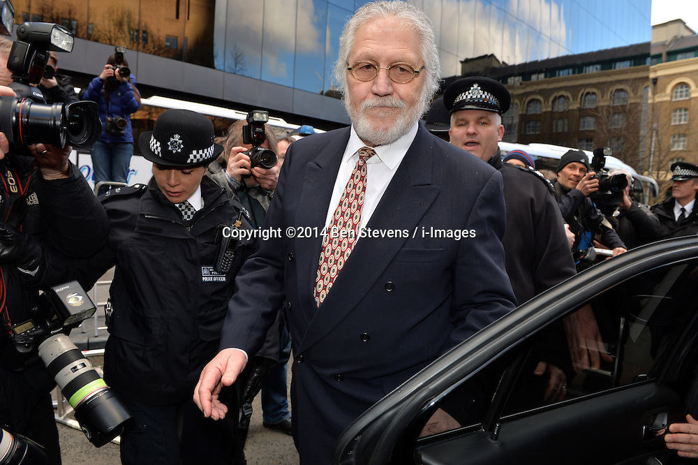Dave Lee Travis leaves Southwark Crown Court after being found not guilty of all but two charges. Thursday, 13th February 2014. Picture by Ben Stevens / i-Images