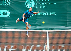 April 13, 2018 - Houston, TX, U.S. - HOUSTON, TX - APRIL 13:  Tennys Sandgren of the United States watches his serve against Guido Pella of Argentina during the Quarterfinal round of the Men's Clay Court Championship on April 13, 2018 at River Oaks Country Club in Houston, Texas.  (Photo by Leslie Plaza Johnson/Icon Sportswire) (Credit Image: © Leslie Plaza Johnson/Icon SMI via ZUMA Press)