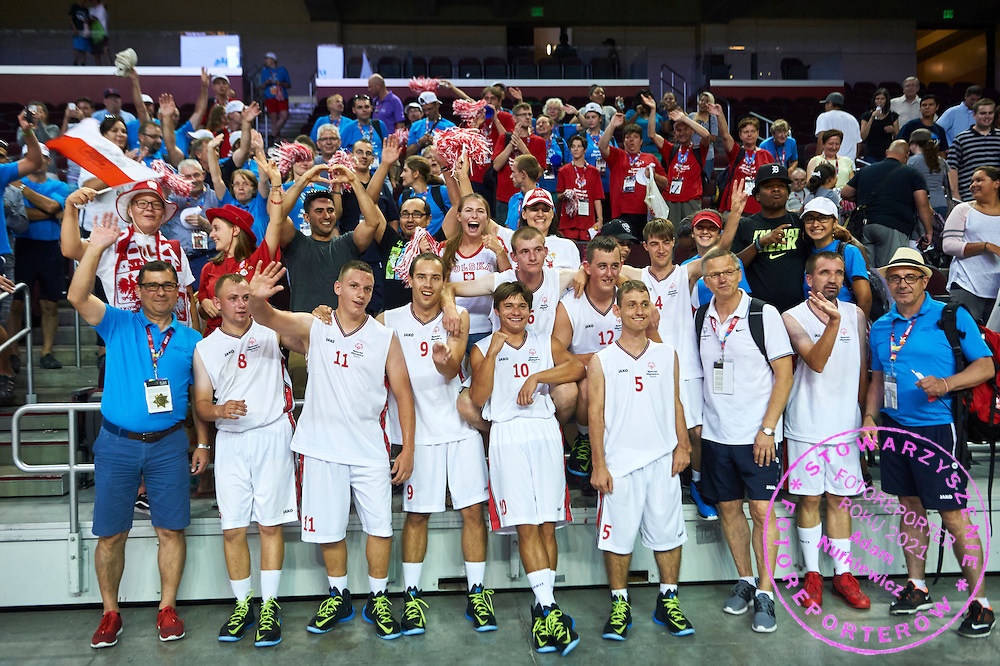 Basketball match between SO Poland and SO Portugal while basketball tournament during fifth day of the Special Olympics World Games Los Angeles 2015 on July 29, 2015 at Galen Centre University of Southern California in Los Angeles, USA.<br /> <br /> USA, Los Angeles, July 29, 2015<br /> <br /> Picture also available in RAW (NEF) or TIFF format on special request.<br /> <br /> For editorial use only. Any commercial or promotional use requires permission.<br /> <br /> Adam Nurkiewicz declares that he has no rights to the image of people at the photographs of his authorship.<br /> <br /> Mandatory credit:<br /> Photo by &copy; Adam Nurkiewicz / Mediasport