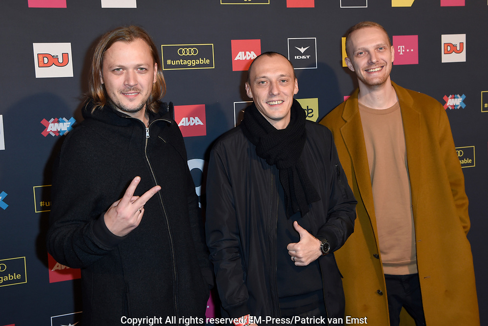 AMF Red Carpet Top 100 DJs Award Show in the Heineken Music Hall.<br /> <br /> On the photo:  Swanky Tunes ( Vadim Shpak, Dmitry Burykin and Stanislav Zaytsev )