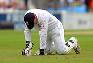 Photo © ANDREW FOSKER / SPORTZPICS 2008 -  On his knees Tim Ambrose hangs his head after he drops Hashim Amla off Andrew Flintoff ' s bowling  - England v South Africa - 09/08/08 - Fourth nPower Test Match -  Day 3 - The Brit Oval - London - UK - All rights reserved