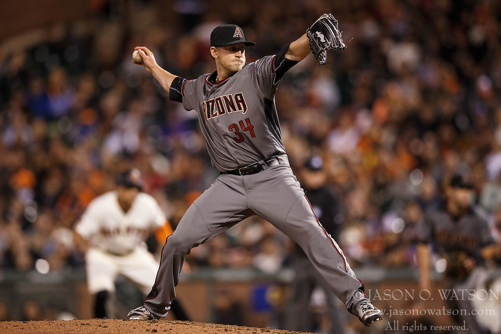 SAN FRANCISCO, CA - APRIL 18: Tyler Wagner #34 of the Arizona Diamondbacks pitches against the San Francisco Giants during the sixth inning at AT&T Park on April 18, 2016 in San Francisco, California. The Arizona Diamondbacks defeated the San Francisco Giants 9-7 in 11 innings.  (Photo by Jason O. Watson/Getty Images) *** Local Caption *** Tyler Wagner