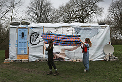 © Licensed to London News Pictures. 17/03/2017. Wakefield, UK. A Syrian refugee shelter, produced by the Amp Art collective, is installed at the Yorkshire Sculpture Park in Wakefield, West Yorkshire. The shelter has been transported from Lebanon to the UK and is aimed at giving visitors a sense of what it is like to be a refugee. Photo credit : Ian Hinchliffe/LNP