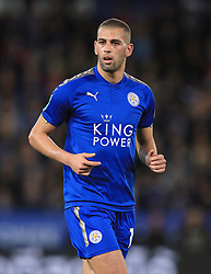"Leicester City's Islam Slimani during the Carabao Cup, Fourth Round match at the King Power Stadium, Leicester. PRESS ASSOCIATION Photo. Picture date: Tuesday October 24, 2017. See PA story SOCCER Leicester. Photo credit should read: Mike Egerton/PA Wire. RESTRICTIONS: EDITORIAL USE ONLY No use with unauthorised audio, video, data, fixture lists, club/league logos or ""live"" services. Online in-match use limited to 75 images, no video emulation. No use in betting, games or single club/league/player publications."