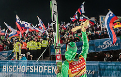 06.01.2016, Paul Ausserleitner Schanze, Bischofshofen, AUT, FIS Weltcup Ski Sprung, Vierschanzentournee, Bischofshofen, Gesamtsiegerehrung, im Bild Peter Prevc (SLO, Gesamtsieger) mit der Trophäe // Winner Peter Prevc of Slovenia celebrate with the overall trophy after the podium of the Four Hills Tournament of FIS Ski Jumping World Cup at the Paul Ausserleitner Schanze in Bischofshofen, Austria on 2016/01/06. EXPA Pictures © 2016, PhotoCredit: EXPA/ JFK