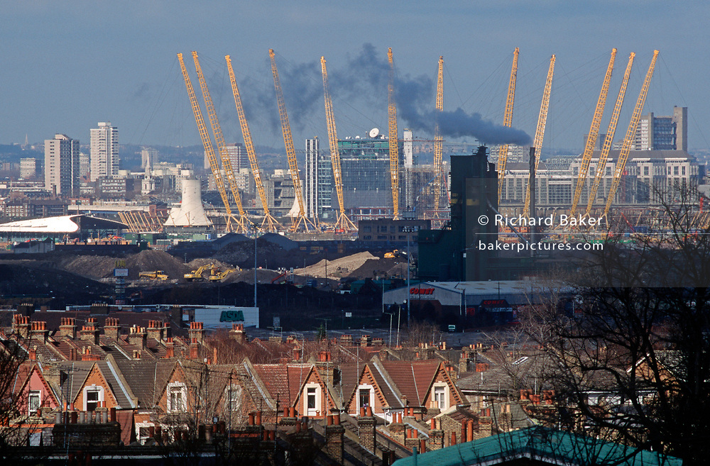 A 1998 construction landscape of Greenwich rooftops and in the distance, The Millennium Dome (later to become the 02 Arena) on the Greenwich Peninsular, on 25th March 1998, in London, England. (Photo by Richard Baker / In Pictures via Getty Images)