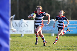 Sarah Bern of Bristol Ladies charges towards the line to score during the RFU Women's Premiership match between Bristol Ladies and Worcester Valkyries - Mandatory by-line: Paul Knight/JMP - 04/12/2016 - RUGBY - Cleve RFC - Bristol, England - Bristol Ladies v Worcester Valkyries - RFU Women's Premiership