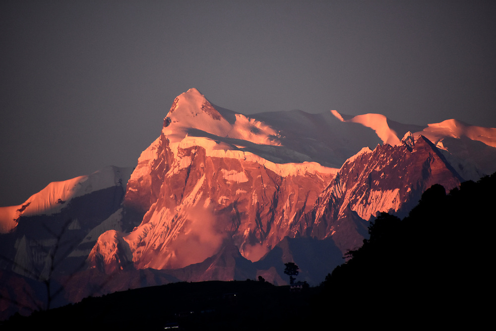 Sunset on the mountains of Pokhara, from the Peace pagoda, Pokhara, Nepal