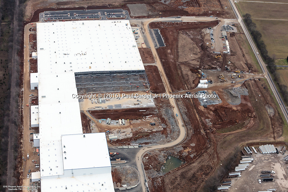 Aerial photo showing construction on the UST Inc Plant, A large-scale high-end porcelain tile manufacturer in Maury County.