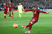 Liverpool midfielder Xherdan Shaqiri (23) puts the cross in for Liverpool midfielder Georginio Wijnaldum (5) to score  during the Champions League semi-final, leg 2 of 2 match between Liverpool and Barcelona at Anfield, Liverpool, England on 7 May 2019.