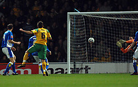 Photo: Ashley Pickering.<br /> Norwich City v Birmingham City. Coca Cola Championship. 13/03/2007.<br /> Darren Huckerby (yellow) scores the opening goal for Norwich